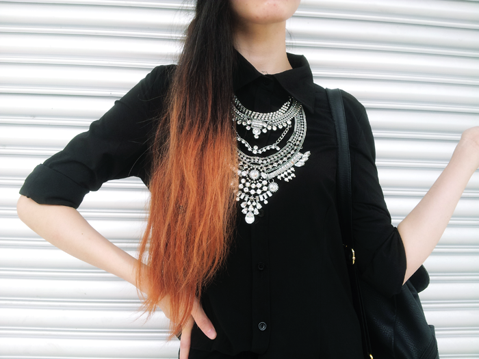 Brunei Fashion Blogger May Cho wearing all black, statement necklace, mustard beanie THEMAYDEN