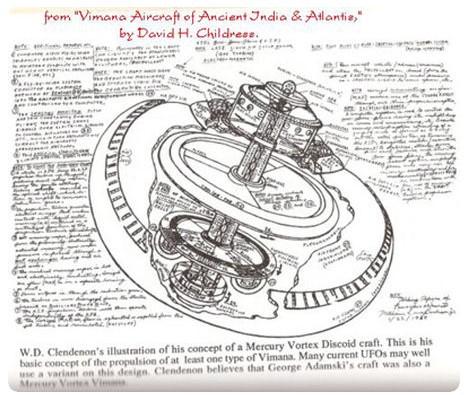 Dibujos detallados de un Vimana como se describe en el Mahabharata. ¿Pudieron extraterrestres enseñar a construir sus máquinas voladoras?. Estos vehículos se describen como
