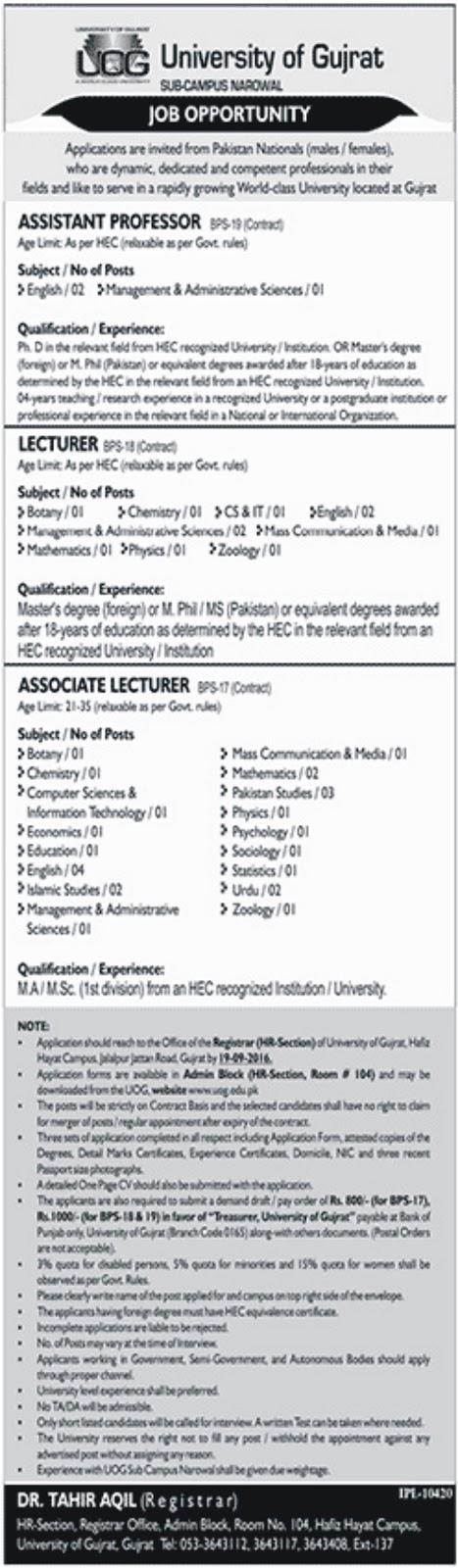 UOG Lecturers Jobs