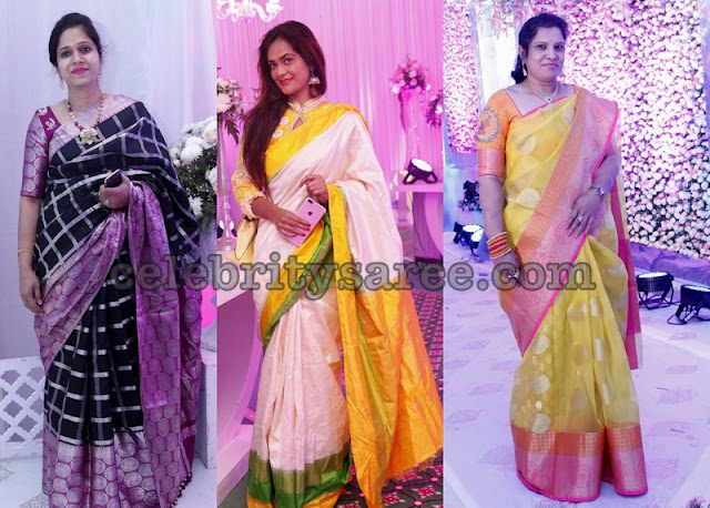Pretty Ladies in Off White and Balck Silk Saris