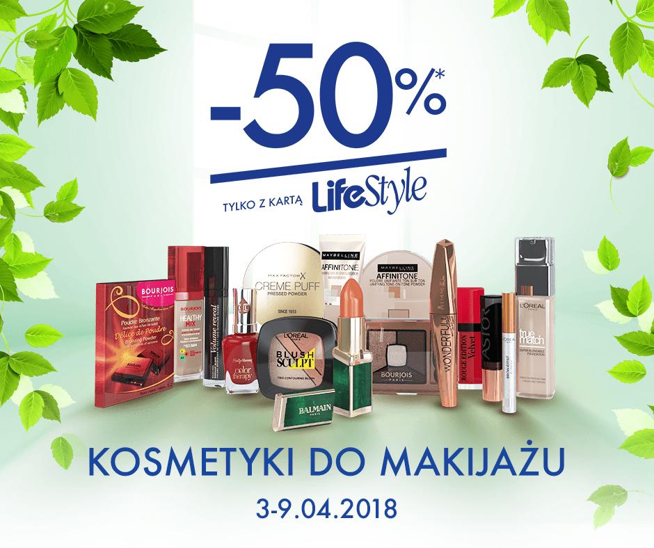 zdjęcie informujące o promocji -50% na kosmetyki do makijażu w Super-Pharm