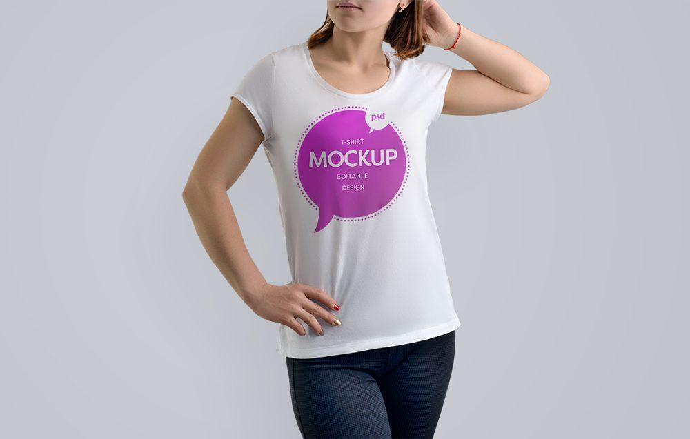 Girl in printed T-Shirt Mockup