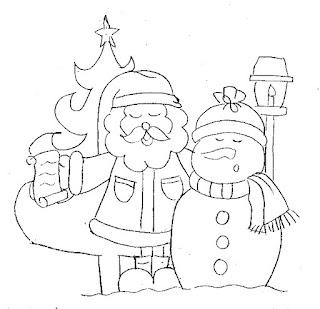 desenho de papai noel com boneco de neve cantando para pintura country de natal