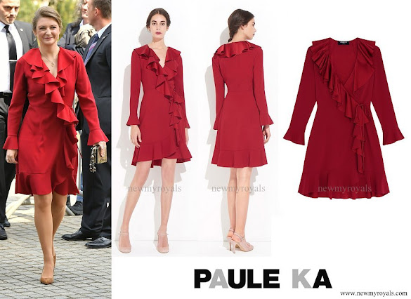 Princess Stephanie wore Paule Ka Satin Coat