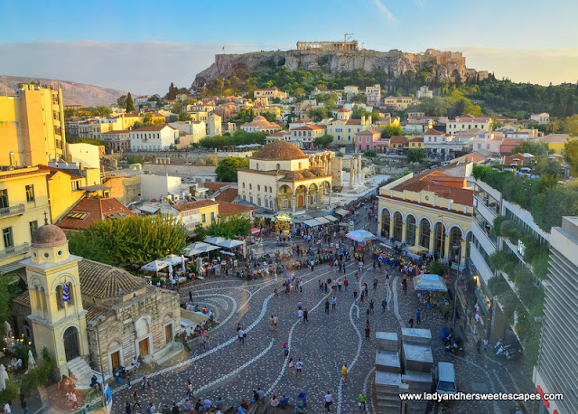 the bustling Monastiraki Square as seen from A for Athens rooftop bar