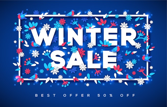 Creative winter sale poster vector material free vector