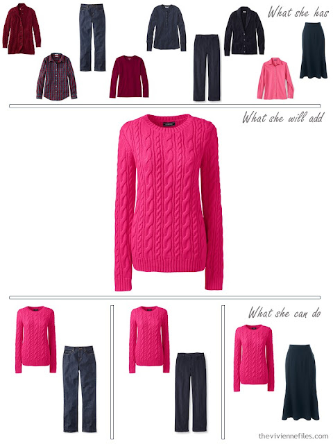 adding a hot pink sweater to a capsule wardrobe in red and navy, for cool weather