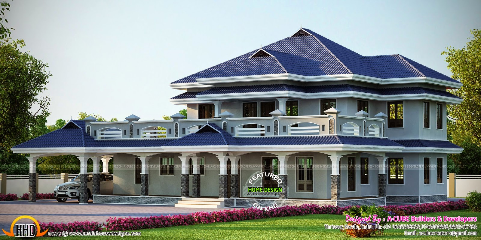 Luxury sloped roof house kerala home design and floor plans for Sloped roof house plans in india