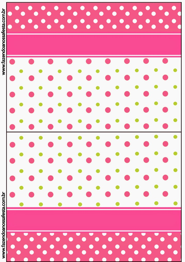 Pink, Green and White Polka Dots Free Printable Candy Bar Labels