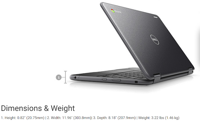 Dell Chromebook 3189 Education 2-in-1 dimensions and weight