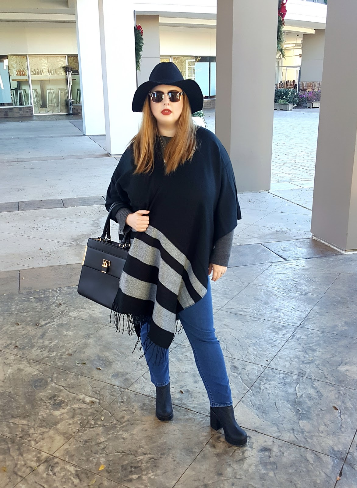outfit-of-the-day, ootd, tobi-sleepless-nights-black-striped-cardigan, aldo-haronden-bag, h&m-heeled-chelsea-boots, j.jill-smooth-fit-slim-ankle-jeans, target-women's-rancher-hat