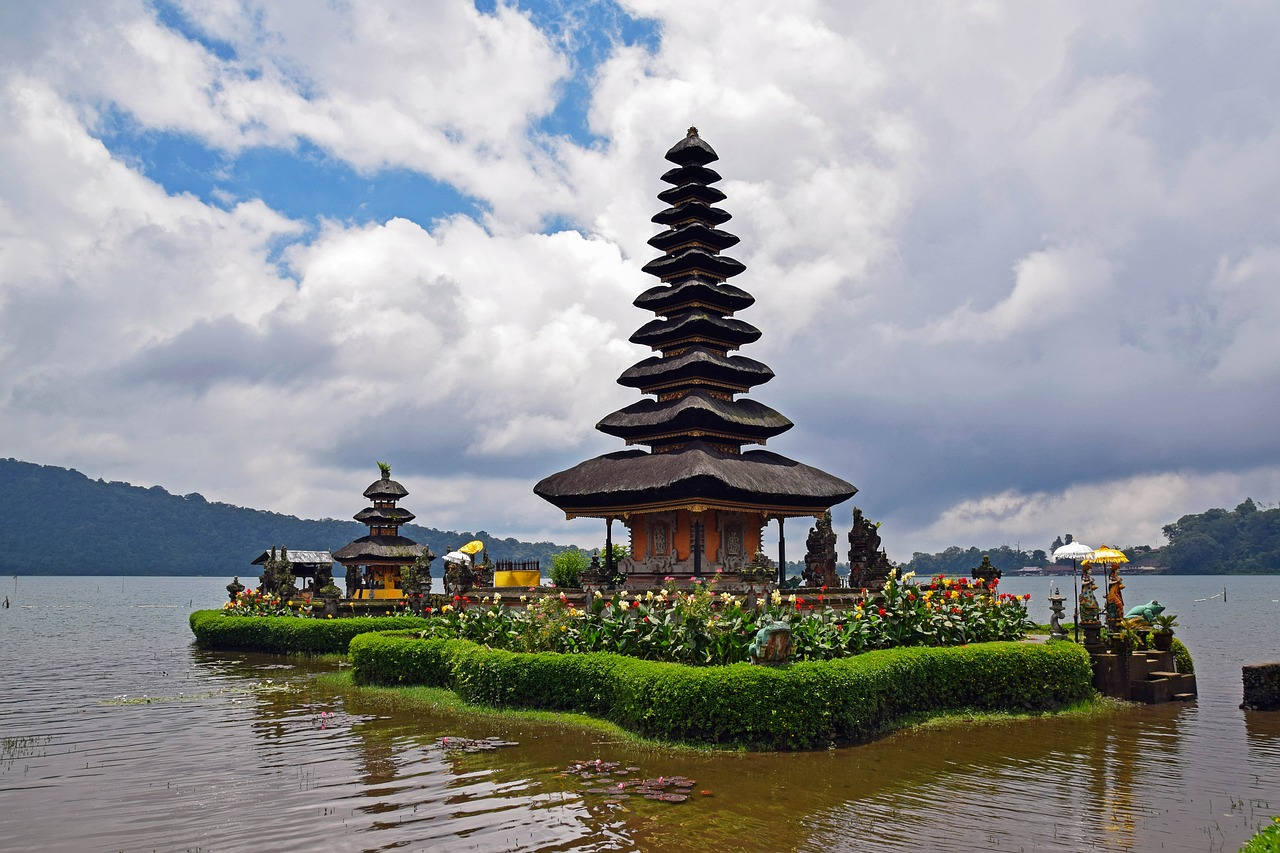 Bali temple on water