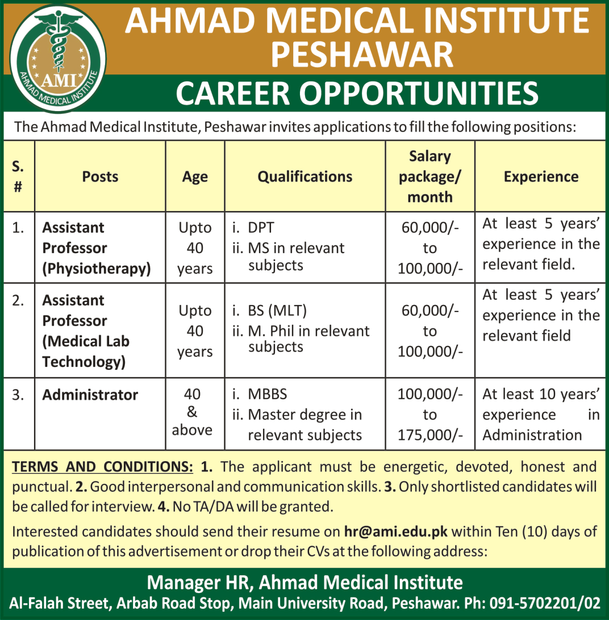 ahmed medical institute peshawar jobs 10 may 2017