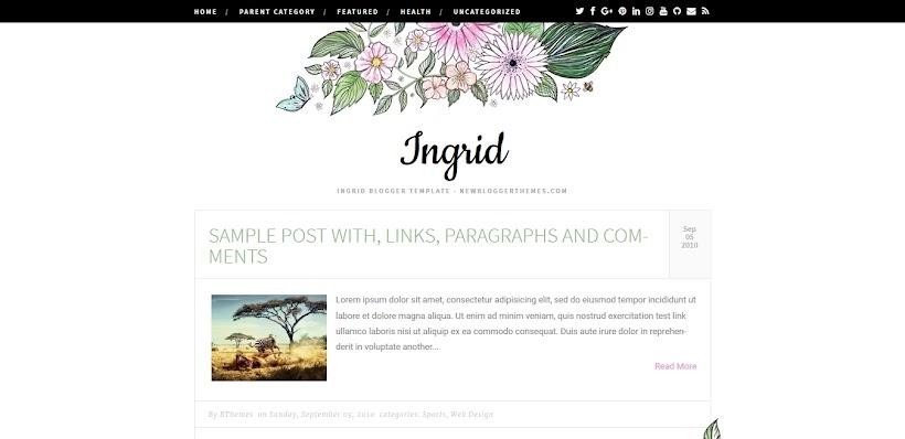 Ingrid Free Blogger Template