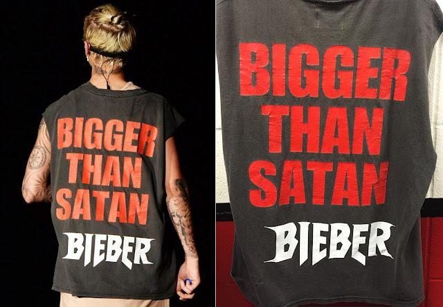 """Justin Bieber usa camisa que dice """"Más grande que Satán"""" y causa revuelo religioso en los Estados Unidos."""