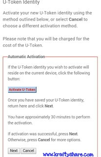uba u-token activation