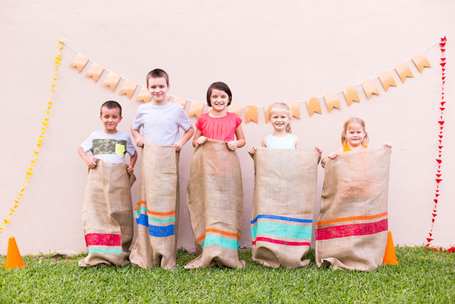 Potato sack race - so fun to do in your backyard with friends!