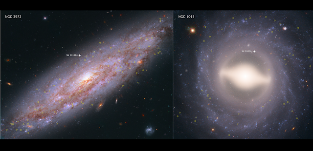 These Hubble Space Telescope images showcase two of the 19 galaxies analyzed in a project to improve the precision of the universe's expansion rate, a value known as the Hubble constant. The color-composite images show NGC 3972 (left) and NGC 1015 (right), located 65 million light-years and 118 million light-years, respectively, from Earth. The yellow circles in each galaxy represent the locations of pulsating stars called Cepheid variables. Credits: NASA, ESA, A. Riess (STScI/JHU)