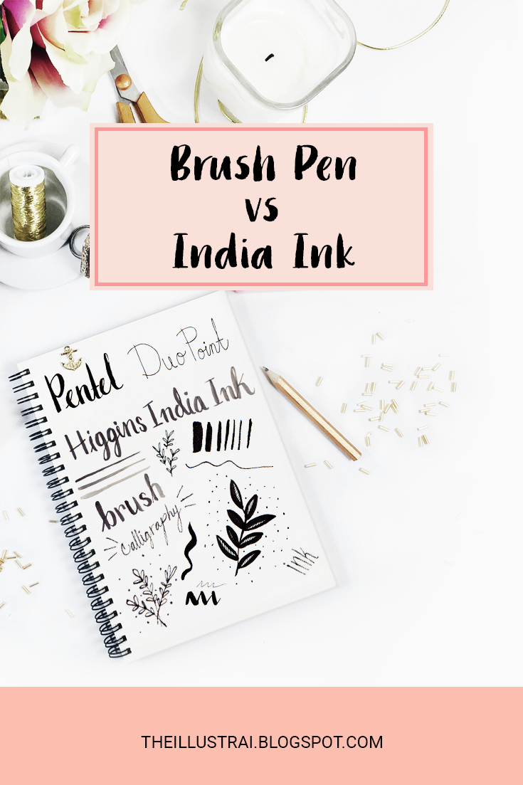 A detailed comparison of brush pens vs bottled india ink, listing the advantages and disadvanges of both