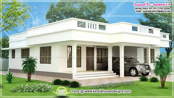Single floor flat roof house