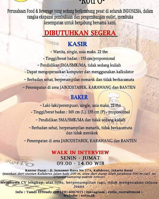 Walk In Interview Roti O Penempatan Wilayah Jabodetabek Karawang