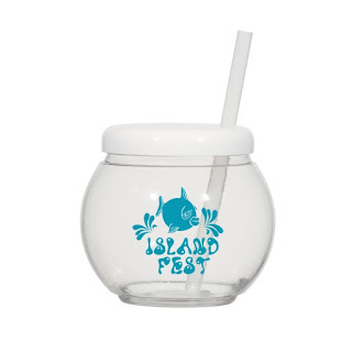 Fish Bowl Cup with Straw