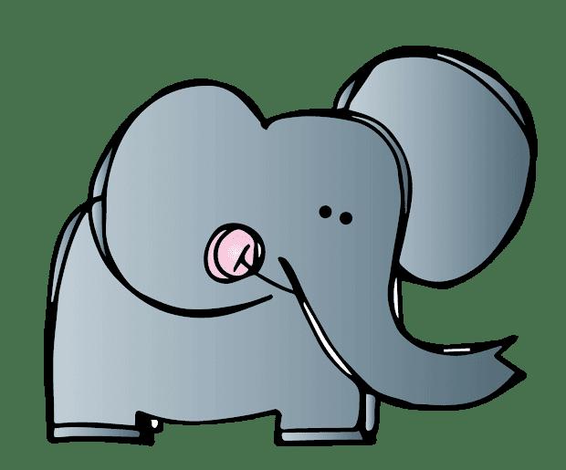 elephant black and white clip art