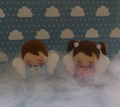 anjinhos em feltro para lembrancinhas de batizado