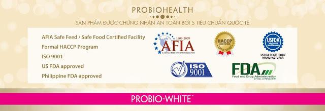 chứng nhận thuốc uống làm đẹp da Probio White