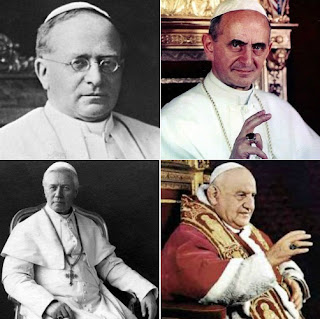 Pope Pius XI, Pope Paul VI, Pope St. John XXIII and Pope St. Pius X