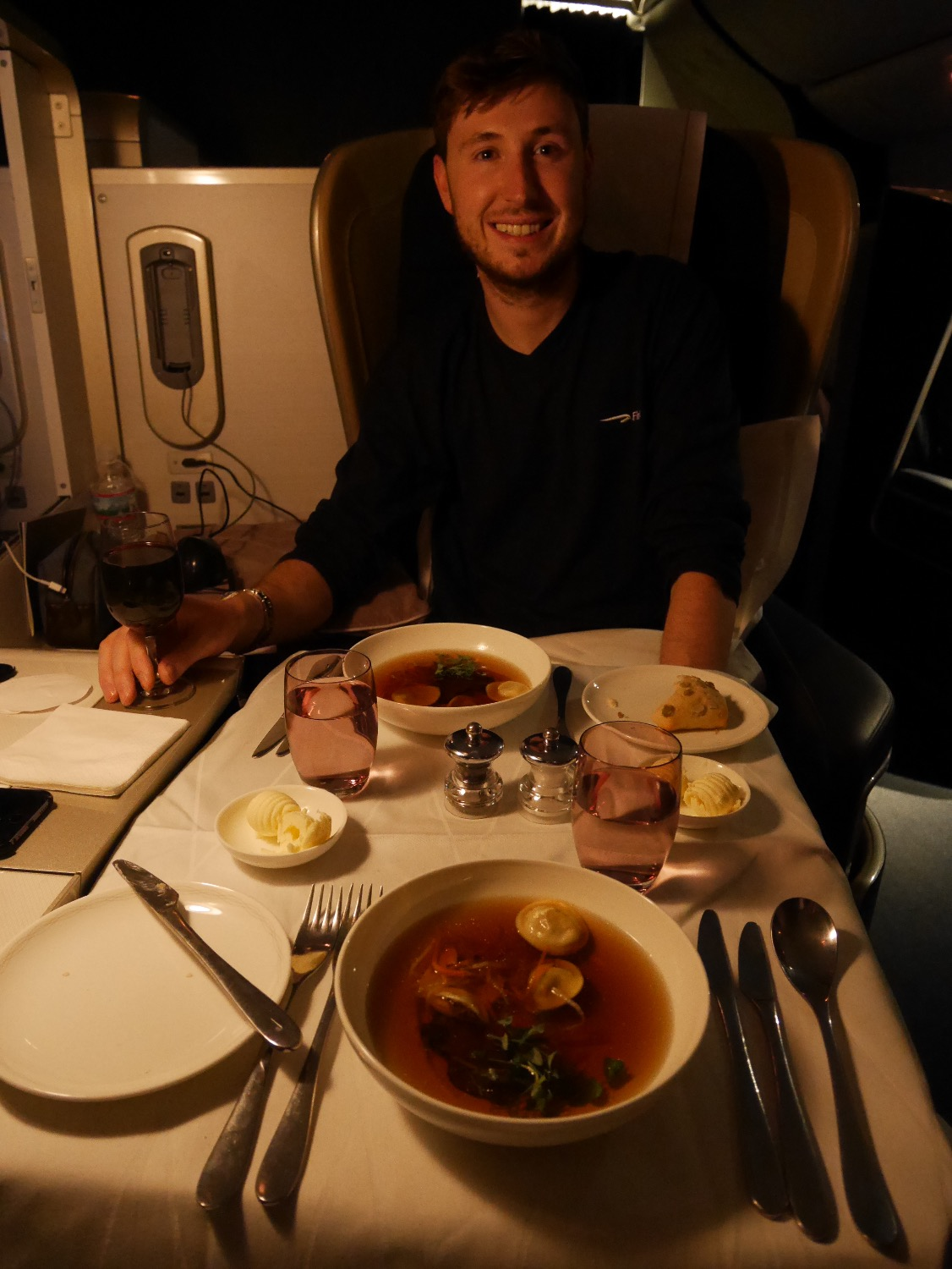 Having dinner in BA First Class