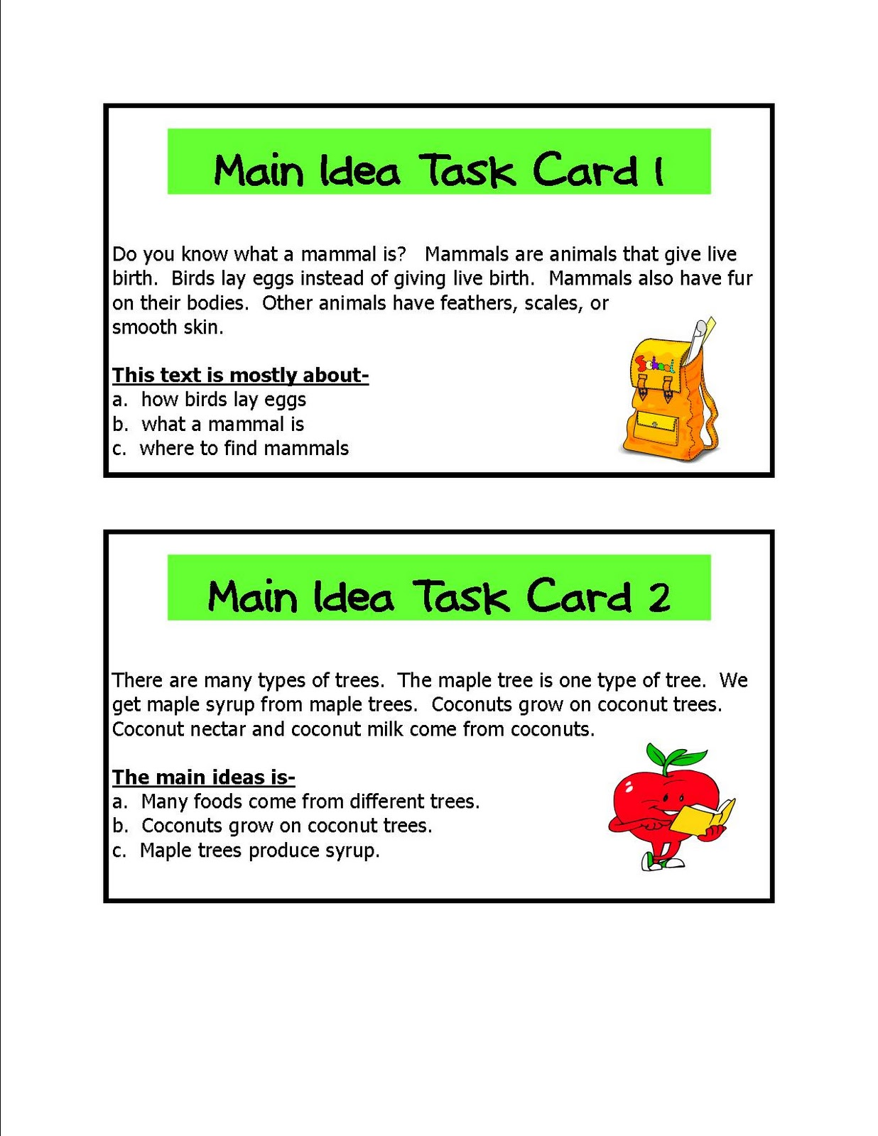 Literacy Amp Math Ideas Main Idea Learning Centers