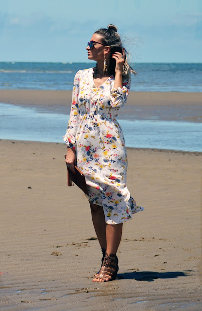 holiday style australia beach floral maxi shirt dress with oversized gold boho earrings bohemian fashion style