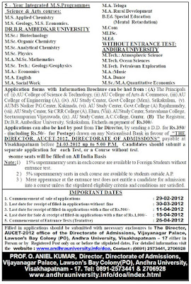 AUCET-2012 Detailed Admission Notice