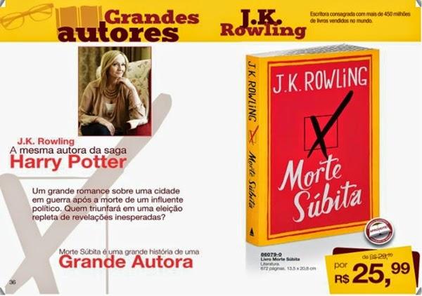 Livro Morte Súbita J K Rowling barato com desconto