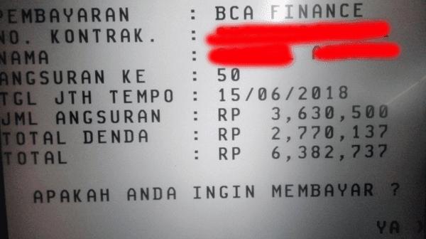 contoh informasi sisa angsuran dan pembayaran bca finance