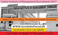 Indian Institute of Management Recruitment 2017–13 Office Assistant, Personal Assistant