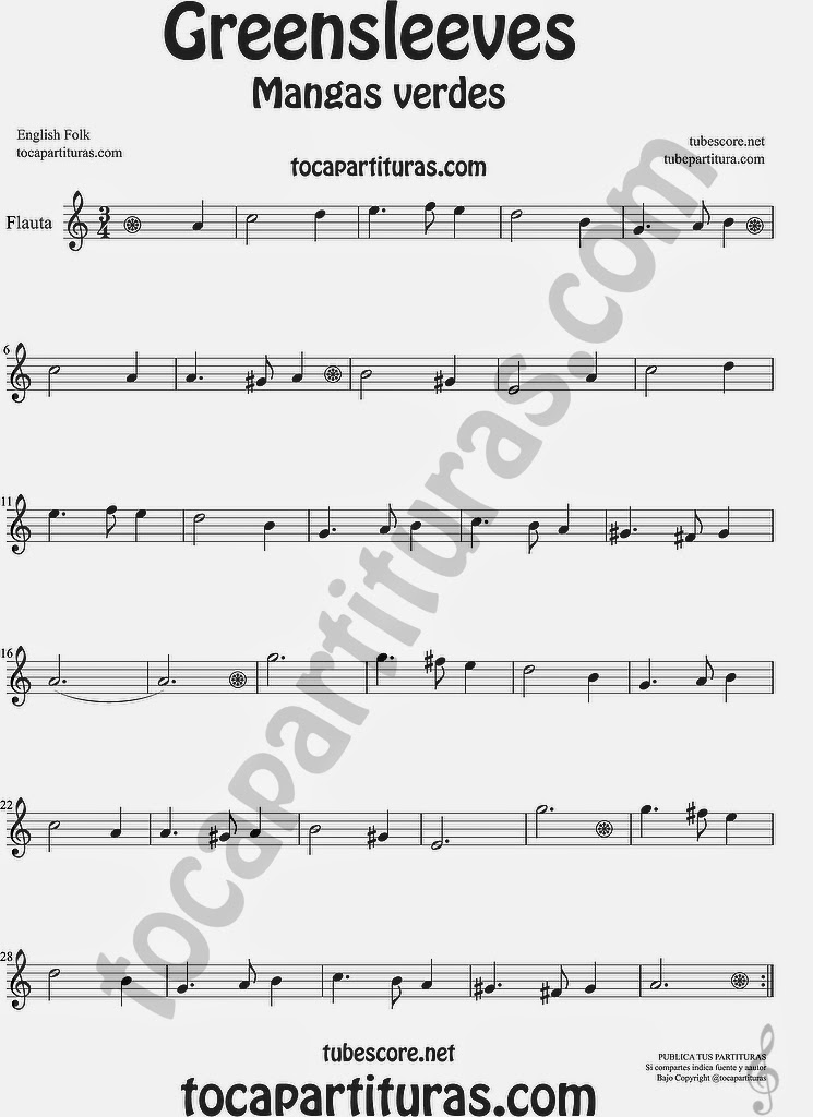Greensleeves Partitura de Flauta Travesera, flauta dulce y flauta de pico Mangas Verdes o ¿Qué niño es este? Sheet Music for Flute and Recorder Music Scores Carol Song What child is this?