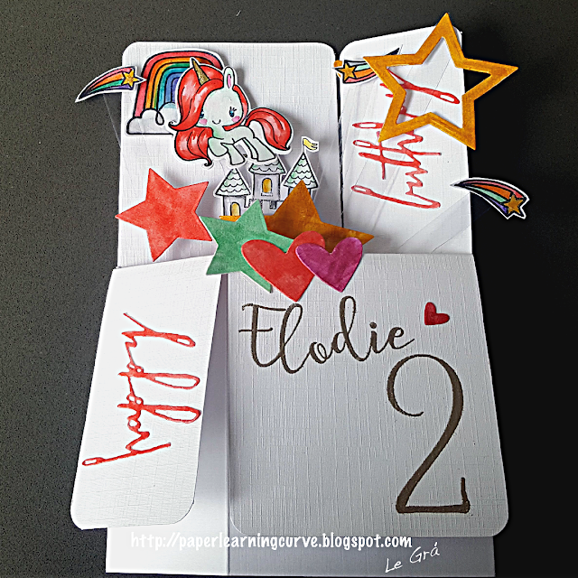 Grá O'Neill - Paper Learning Curve - Pop Up Card - Lawn Fawn Critters Ever After; The Greeting Farm Magical Friends; Paper Smooches Spectrum; Concord & 9th Sophisticated Script; Papermania Numbers, Tim Holtz Handwritten Celebrate; Lawn Fawn Hearts; Spellbinders Stars