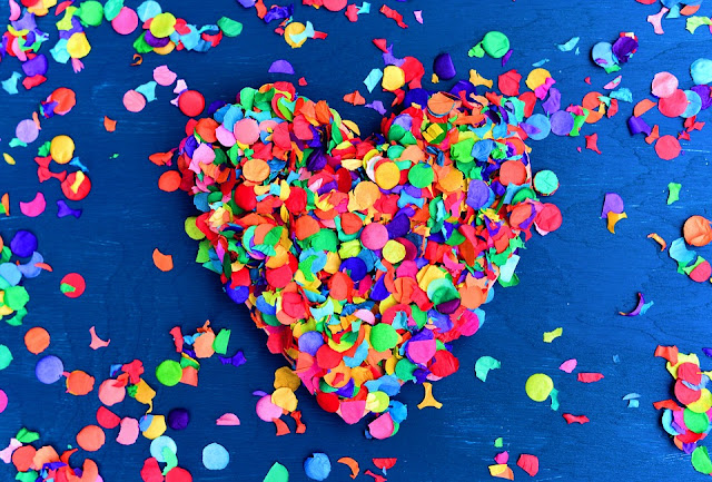 confetti heart colorful birthday decoration image