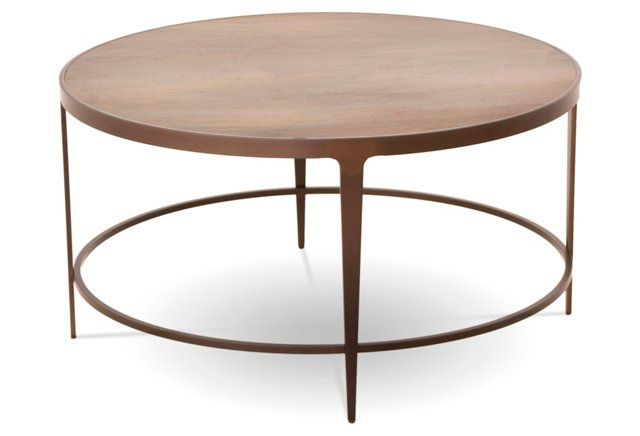 I Fell For The Clean Lines And Feather Light Appearance Of The Sawyer Cocktail Table The Round Forged Metal Base Has An Inset Top Of Ambrosia Maple
