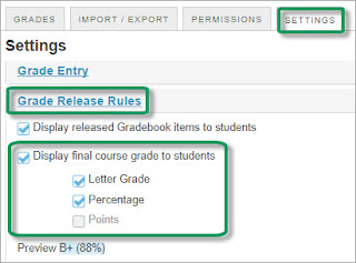 In Gradebook settings, click Grade Release Rules, then click Display final course grade to students, then click letter grade/percentage or points