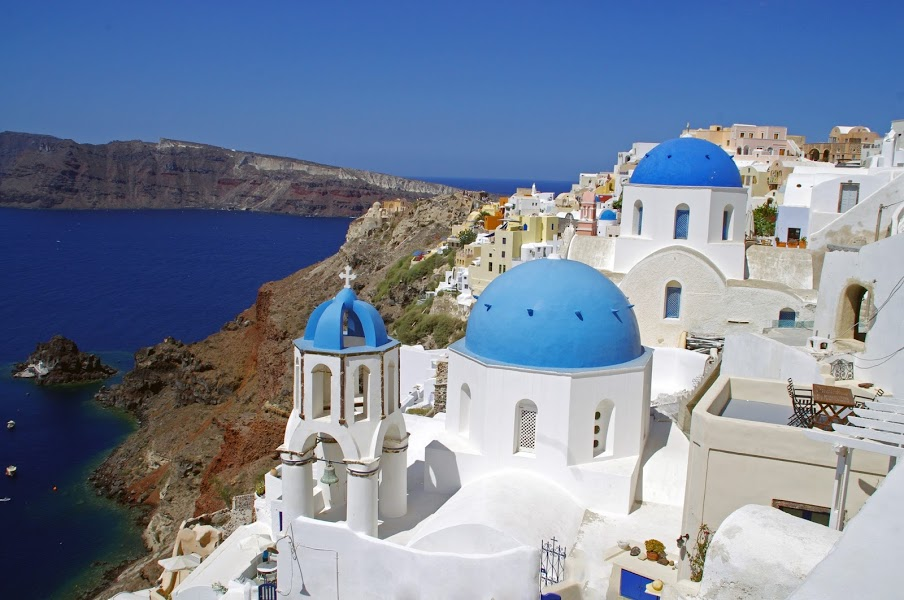 Blue Domed Houses in Oia Santorini