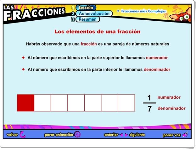 """Las fracciones: """"Fracciones más complejas"""" (Aplicación interactiva de Matemáticas de Primaria)"""
