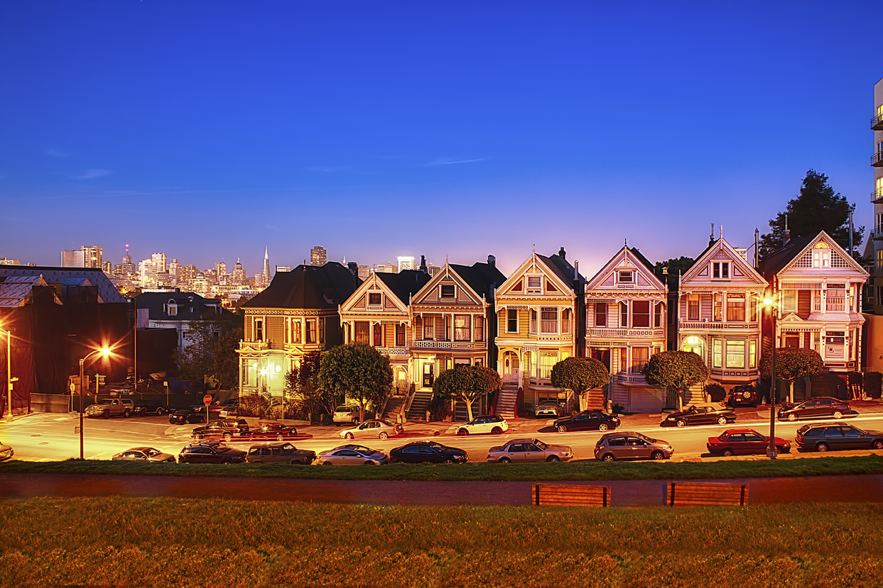 Our Digital Mind San Francisco Painted Ladies At Night