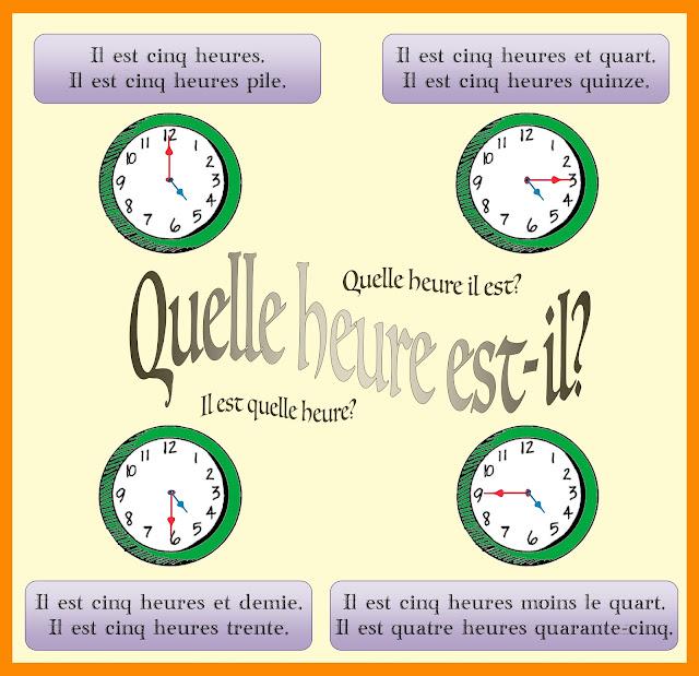 Godziny - słownictwo 15 - Francuski przy kawie