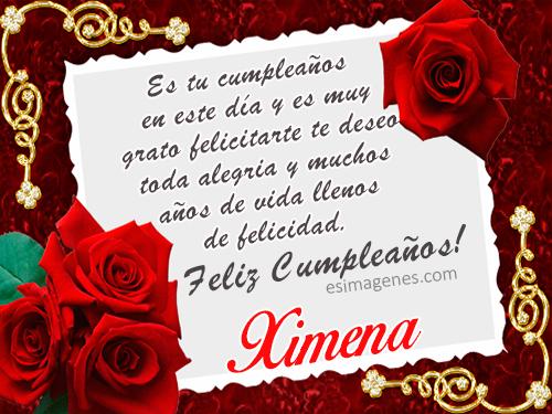 Feliz cumpleaños Ximena Tarjetas con Nombres Cumpleaños, Imágenes de Amor, Feliz 2019