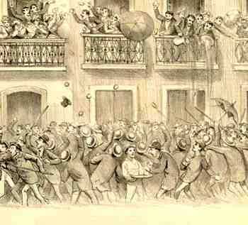 O carnaval chegou ao Brasil colonial com os navegadores portugueses e, naqueles tempos, era chamado de Entrudo: nele, se atiravam frutas de cera, limões ou laranjas, repletos de água de cheiro nos passantes, além de se pintar à cara com farinha ou pó branco. Seringas enormes, cheias de líquido colorido, também eram esvaziadas sobre  as pessoas. Homens, mulheres e crianças, livres e escravos, brincavam juntos nestes dias de alegria. Nas festas, de modo geral, havia todos os tipos de excessos, inclusive sexuais.