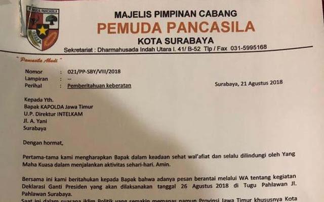 Pemuda Pancasila Siap Bubarkan Aksi #2019GantiPresiden di Surabaya