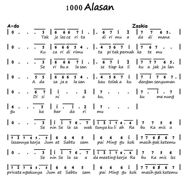 Not Angka Pianika Lagu 1000 Alasan - Zaskia